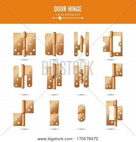 Door Hinge Vector. Set Classic And Industrial Ironmongery Isolated On White Background. Simple Entry Door Metal Hinge Icon. Copper. Stock Illustration.