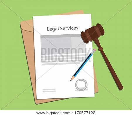 signing legal services concept illustration with paperworks, pen and a judge hammer vector