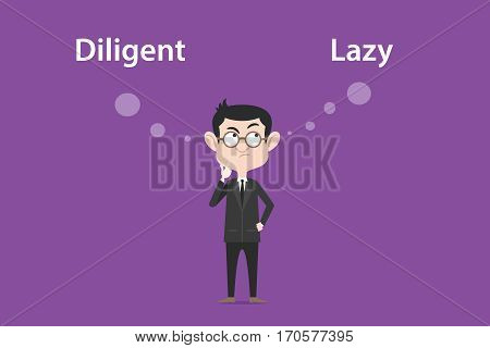 Comparing benefits between become a diligent or lazy person illustration with a white bubble text vector