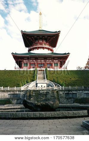 The Three-Storied Pagoda at the Narita-san Shinshō-ji Shingon Buddhist temple in Narita, Japan.
