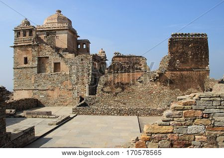View of section of Maharana Kumbh Palace (Mahal) at Chittorgarh Fort Chittorgarh Rajasthan India Asia