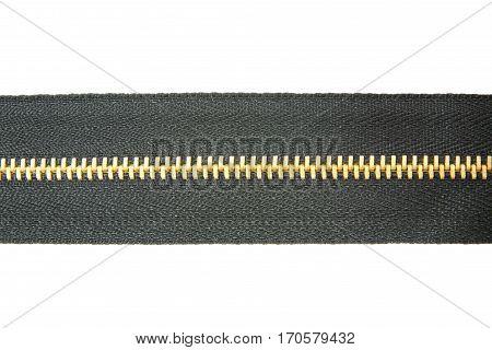 black zipper isolated over white background .