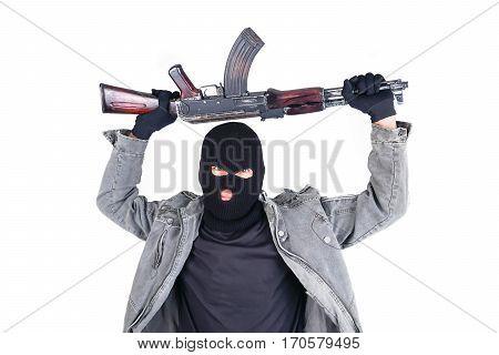 Terrorist With Ak47 Machine Gun