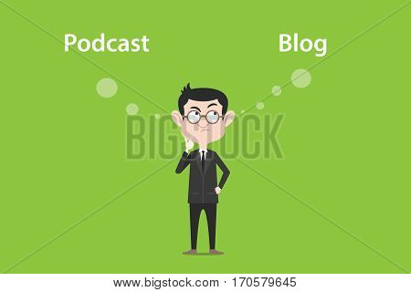 thinking about the difference of podcast vs blog illustration with a white bubble text vector