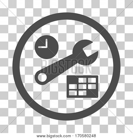 Date And Time Setup rounded icon. Vector illustration style is a flat iconic symbol inside a circle gray color transparent background. Designed for web and software interfaces.