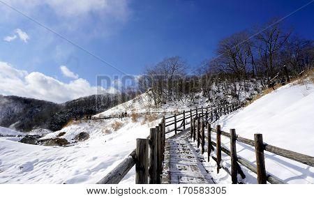Noboribetsu Onsen And Walkway Bridge Snow Winter