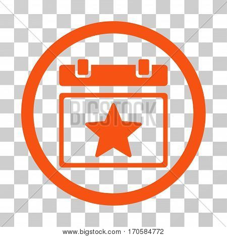 Favourites Day rounded icon. Vector illustration style is a flat iconic symbol inside a circle orange color transparent background. Designed for web and software interfaces.