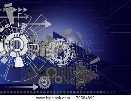 Hi-tech digital technology and engineering with gear wheel on circuit board digital telecoms technology concept Abstract futuristic- technology on blue color background Vector illustration colorful.