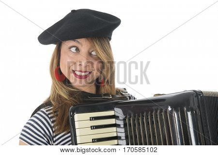Portrait French girl making music with accordion instrument isolated over white background