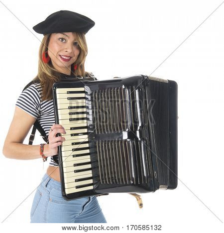 French girl making music with accordion instrument isolated over white background