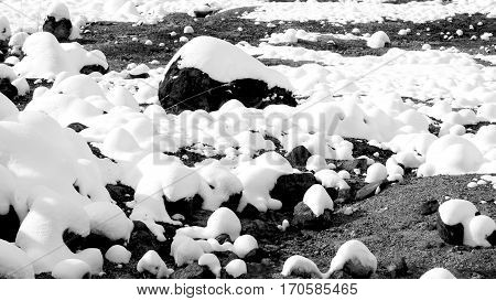 Closeup Stone And Snow Monochrome In The Mist Noboribetsu Onsen