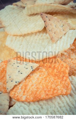 Vintage Photo, Heap Of Salted Crisps And Cookies, Concept Of Unhealthy Food