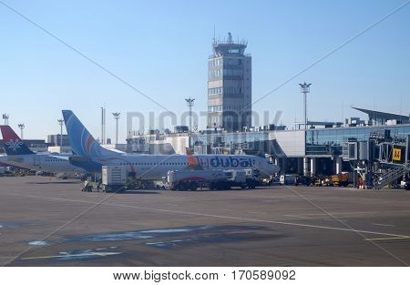 BELGRADE, SERBIA - FEBRUARY 06: Belgrade Nikola Tesla Airport on February 06, 2016, Belgrade, Serbia. Aerodrom Nikola Tesla is the primary international airport serving Belgrade, Serbia