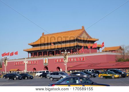BEIJING, CHINA - FEBRUARY 23, 2016: The Gate of Heavenly Peace at famous Tiananmen square. This is one of the most visited place in Chinese capital on February 23, 2016.