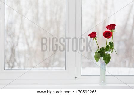 Roses in a vase on a window sill in the winter