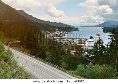 Port in ketchikan port Alaska with cruise ships. Panorama view on Alaska Ketchikan
