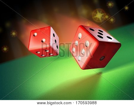 Two dices rolling on a green surface. 3D illustration.