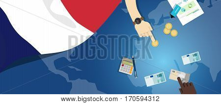 France economy fiscal money trade concept illustration of financial banking budget with flag map and currency vector