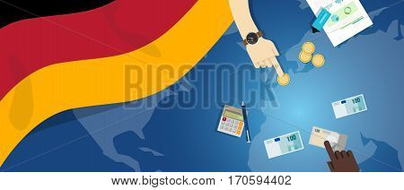 German economy fiscal money trade concept illustration of financial banking budget with flag map and currency vector