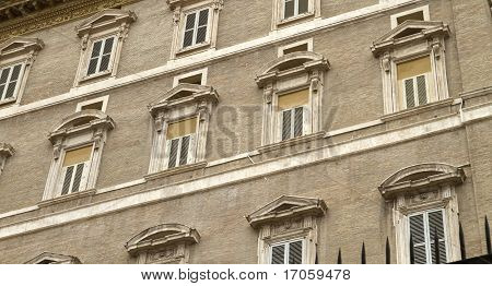 Papal Apartment Windows From St Peter's Square