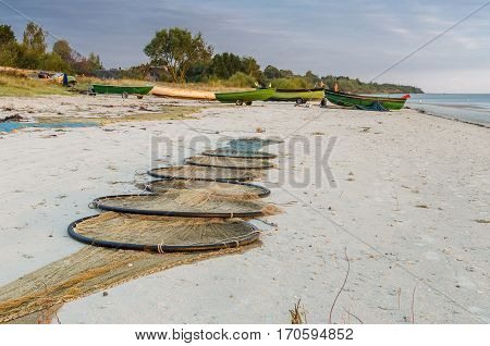 Fishing village at sandy beach of the Baltic Sea