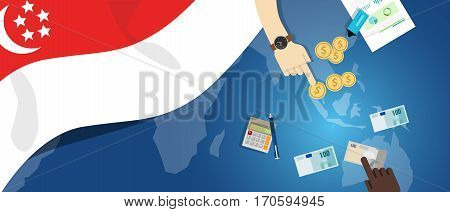 Singapore Asia economy fiscal money trade concept illustration of financial banking budget with flag map and currency vector