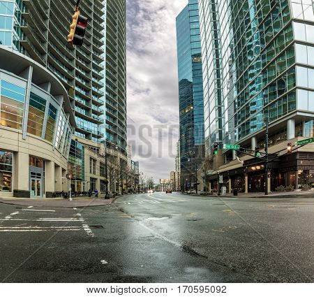 Street scene with modern skyscrapers in Atlanta, Georgia with no recognizable people or business names