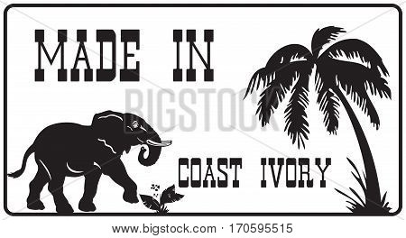Stamp imprint - Made in Coast Ivory Illustration contains elephant symbol.
