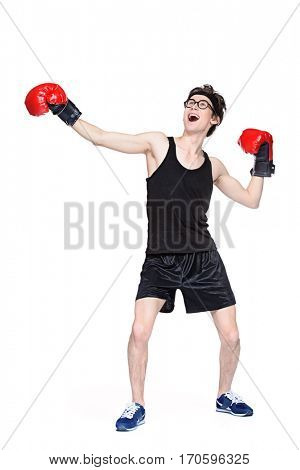 Funny skinny boxer man. Sports and health concept. Isolated over white background.
