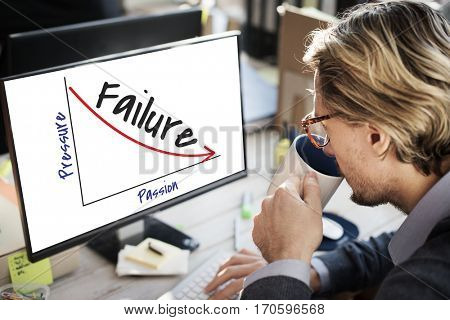 Businessman Failure Computer Screen Concept