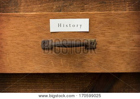Old half open drawer, with a