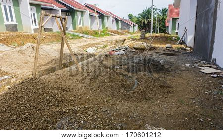 Heap of gravels and sands for real estate building project at Dramaga Bogor Indonesia java