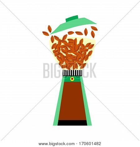 Colored flat icon. Coffee mill cartoon style. Illustration of drinks, fresh coffee. Symbol of freshly brewed coffee poster