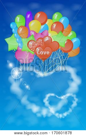 Two Hearts Out Of The Clouds On A Lot Of Balloons.