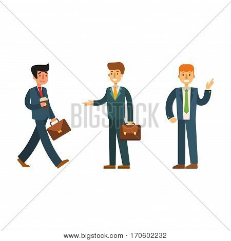 Business people man vector illustration. Collection of full length portraits of professional portrait community characters. Success occupation person.
