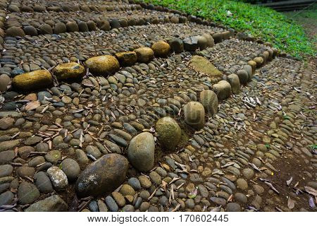 natural stairs made from stones, gravels and soil photo taken in kebun raya bogor indonesia java