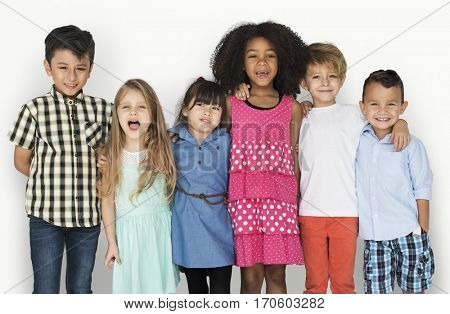 Group Children Friendship Happy Smiling Studio Portrait