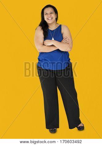 Black Hair Woman Happy Smiling Cross Arms Studio Portrait