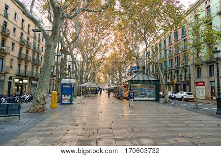 BARCELONA, SPAIN - NOVEMBER 20, 2015: Barcelona urban landscape in the morning. Barcelona is the capital city of the autonomous community of Catalonia in the Kingdom of Spain.
