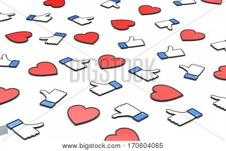 Hearts and thumb's up symbols - social networks concepts. Social networks metaphor. 3d illustration