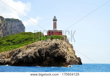 Lighthouse on the cliff. Capri island Campania region, Italy