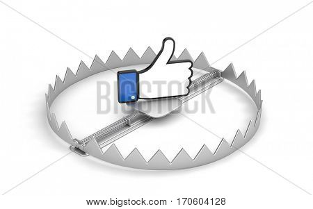 Steel bear trap with thumb's up symbol isolated on white. 3d illustration