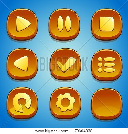 Yellow buttons set for GUI. UI elements.