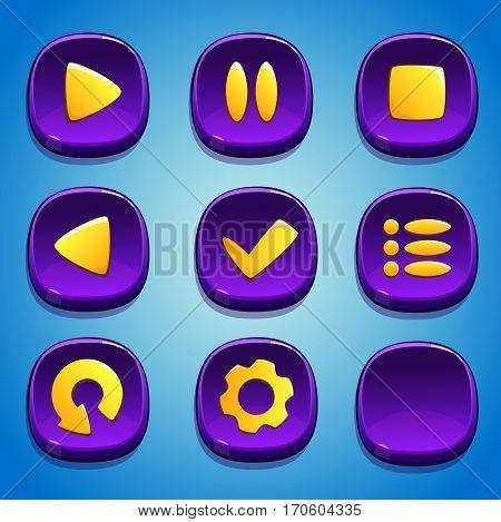 Violet buttons set for GUI. UI elements.