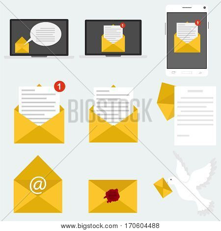 Envelope with a letter, letter, letters set, pigeon, post office. Flat design, vector illustration, vector.