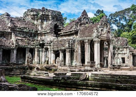 entrance to ancient Preah Khan temple in Angkor.