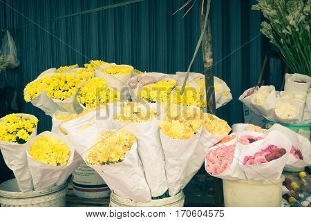 Various kind of flowers in pots at florist shop photo taken in Semarang indonesia java