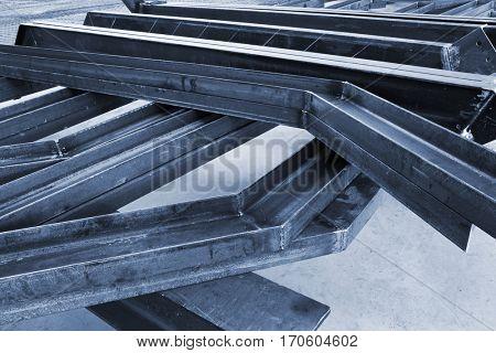 new welded metal beams on modern plant.