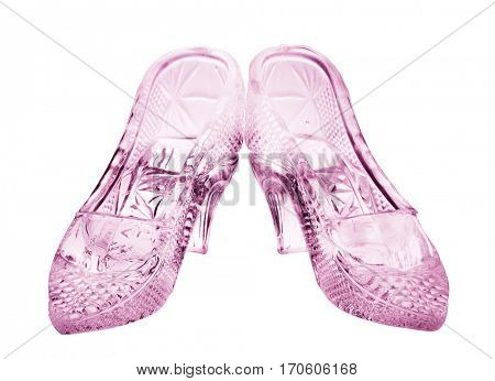 woman glass shoes with reflection isolated on black background