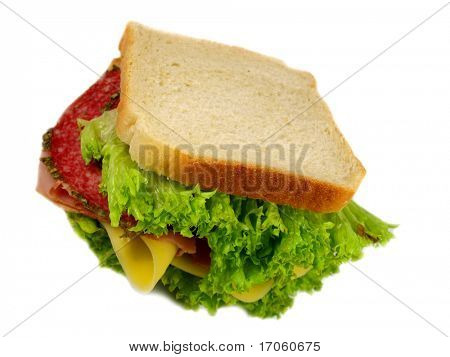 detail of a sandwich with ham and salad poster